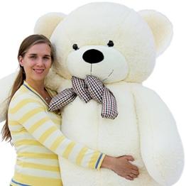 Joyfay Marke Großer Teddybär Riesiger Plüsch Bär Kuschelig Stofftier Sich Weiche Waschbar Plüschtiere Geschenk Für Kinder Alters Für Geburtstag Hochzeit Valentinstag Weihnachten (200 cm, Weiß) - 1