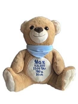 Stofftier Plüsch Teddy mit Name & Geburtsdatum bestickt (Halstuch: Hellblau (JUNGE)) - 1