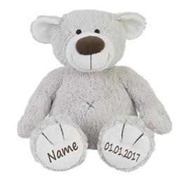 Stofftier Teddy Bär zartgrau Geschenk mit Namen und Geburtsdatum personalisiert 30cm - 1