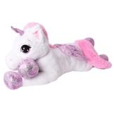 TE-Trend XXL Plüschtier Pferd Einhorn Unicorn Kuscheltier Liegend 130 cm Lila Glitzerhorn Große Augen Weiß - 1
