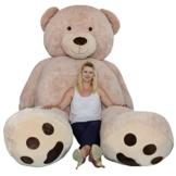 TE-Trend XXL Riesenteddybär gigantischer Riesen Teddy Teddybär Liegend sitzend 320 cm in der Farbe Hellbraun als Geschenk zur Dekoration Erwachsene Kinder - 1